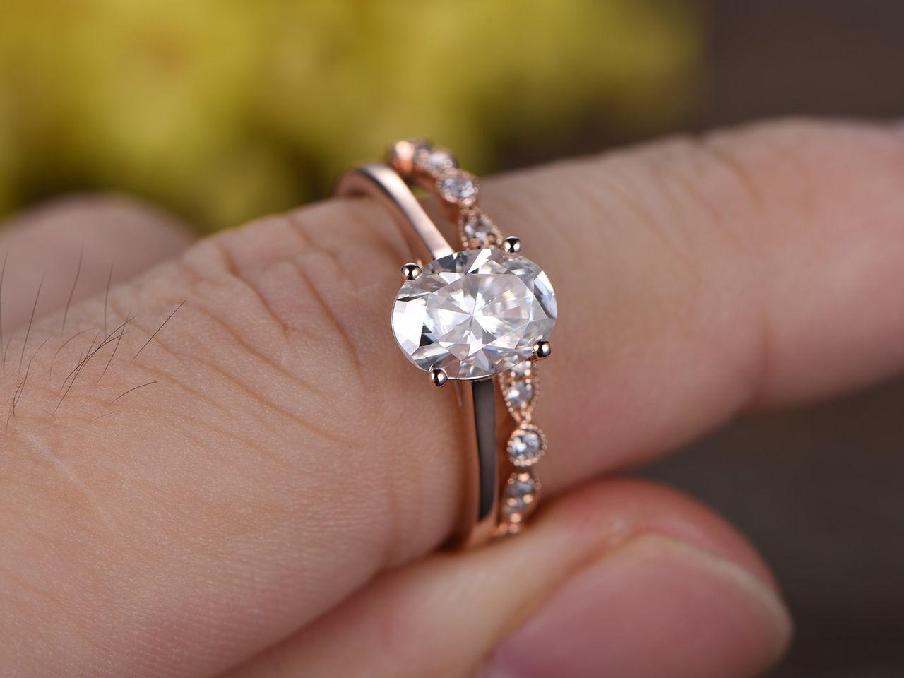 1 5 Carat Moissanite Solitaire Engagement Ring Set Diamond Wedding Band 14k White Gold Art Deco Milgrain Matching Band Moissanite Engagement Ring Solitaire Diamond Wedding Sets Rose Gold Solitaire Ring