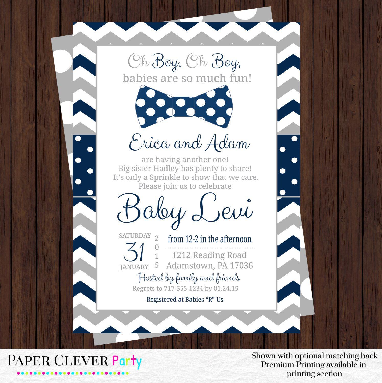 sprinkle baby shower invitations -- boys bow tie invite in navy blue ...