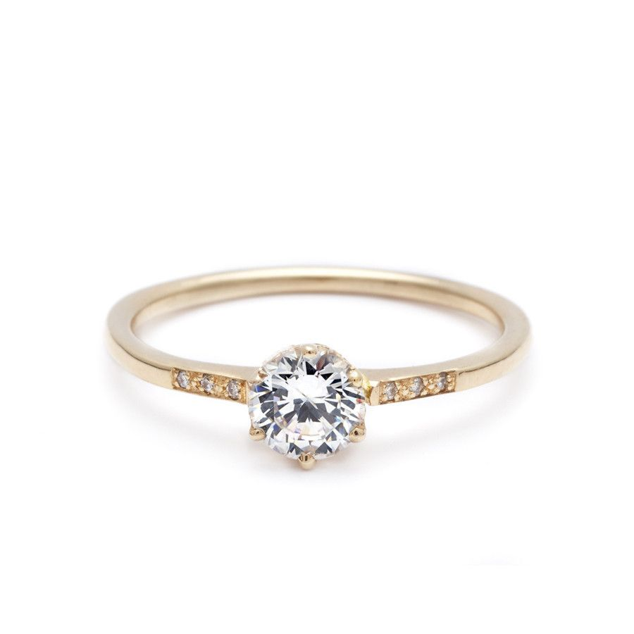 hazeline white diamond yellow gold ring with a few accent stones | Anna Sheffield