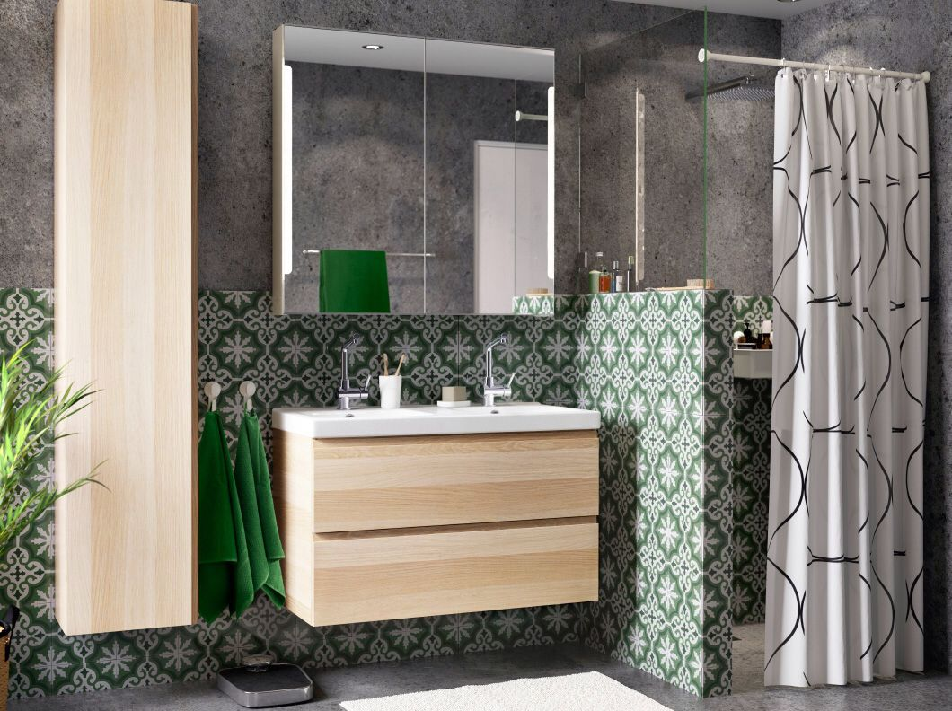 Dislike the birch vanity units, but love tiled finish and low ...