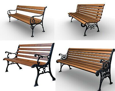 Details Zu Parkbank Gartenbank Gusseisen Massiv Holz Kiefer