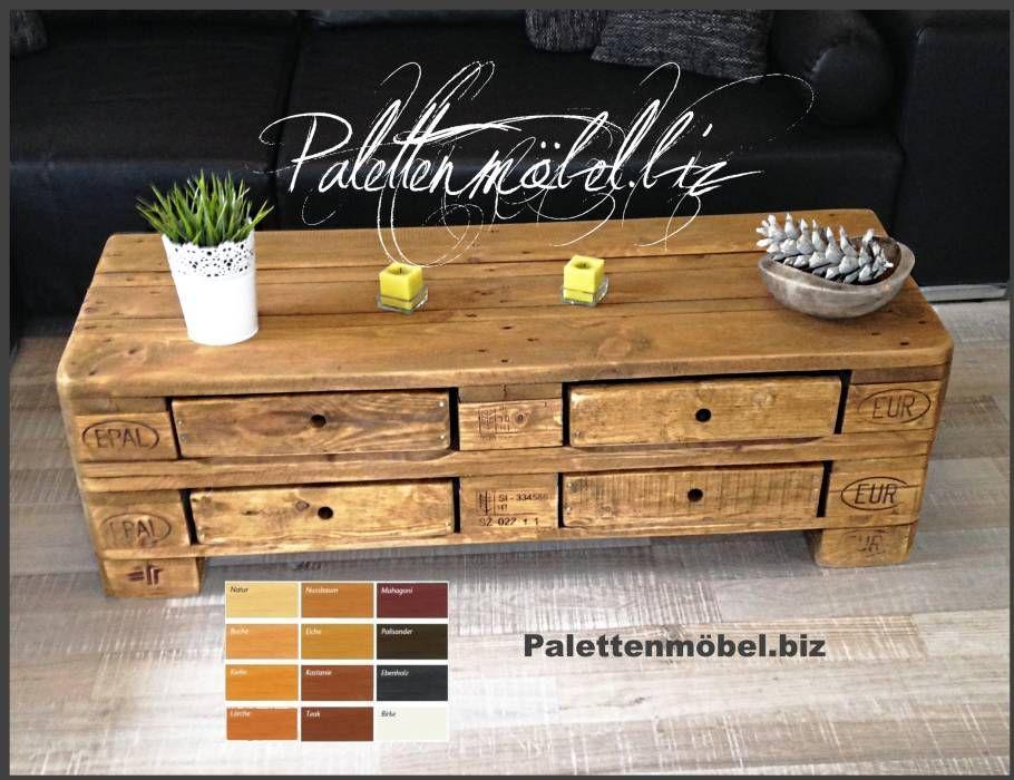 palettenmobel couchtisch kommode mit 4 schubladen landhausstil wohnzimmer von palettenmobel biz