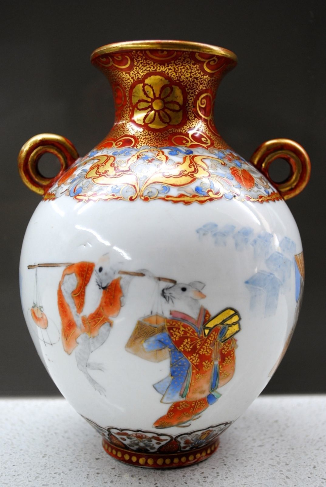 A rare japanese museum quality antique kutani porcelain vase w a rare japanese antique kutani porcelain vase w painting of the mouses wedding reviewsmspy