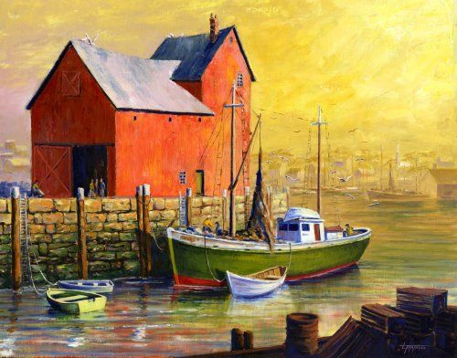 Paintings of boats in harbor morning oil on linen for Fishing boat painting