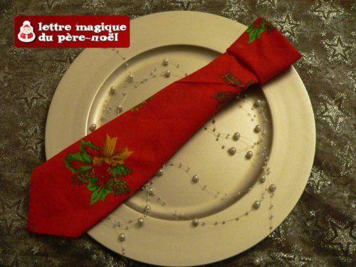 Pliage serviette La cravate du Père Noël | deco noel | Pinterest ...