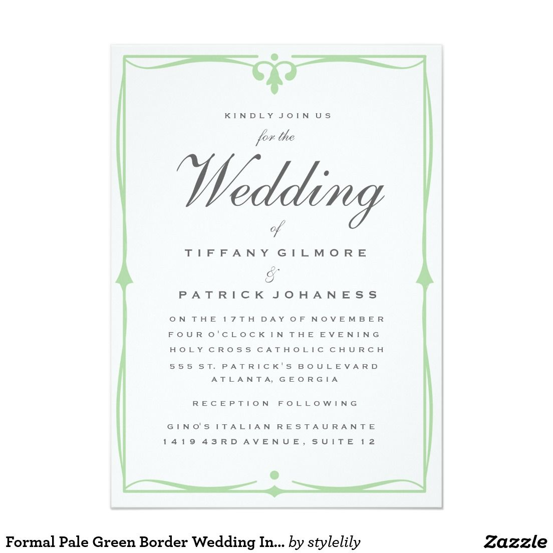 Formal Pale Green Border Wedding Invitation 5\