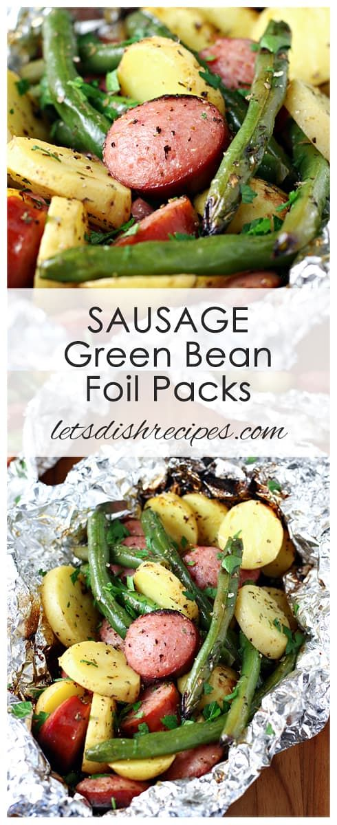 Photo of Sausage Green Bean Foil Packs | Let's Dish Recipes