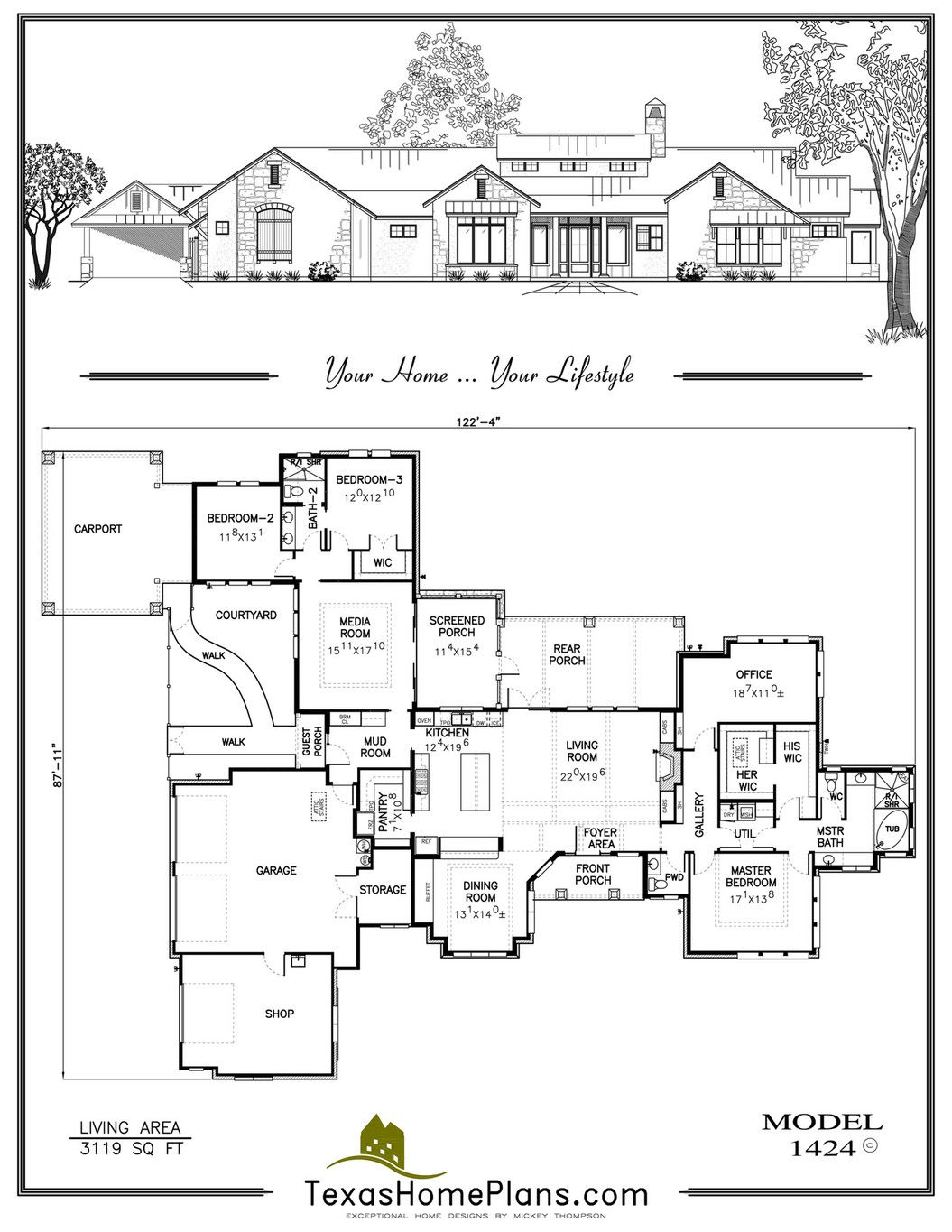 Texas Home Plans Texas Farm Homes Page 126 127 Multigenerational House Plans House Plans One Level House Plans