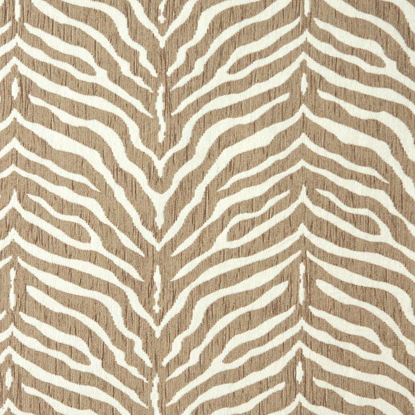 Zebra Natural Beige And White Animal Print Chenille