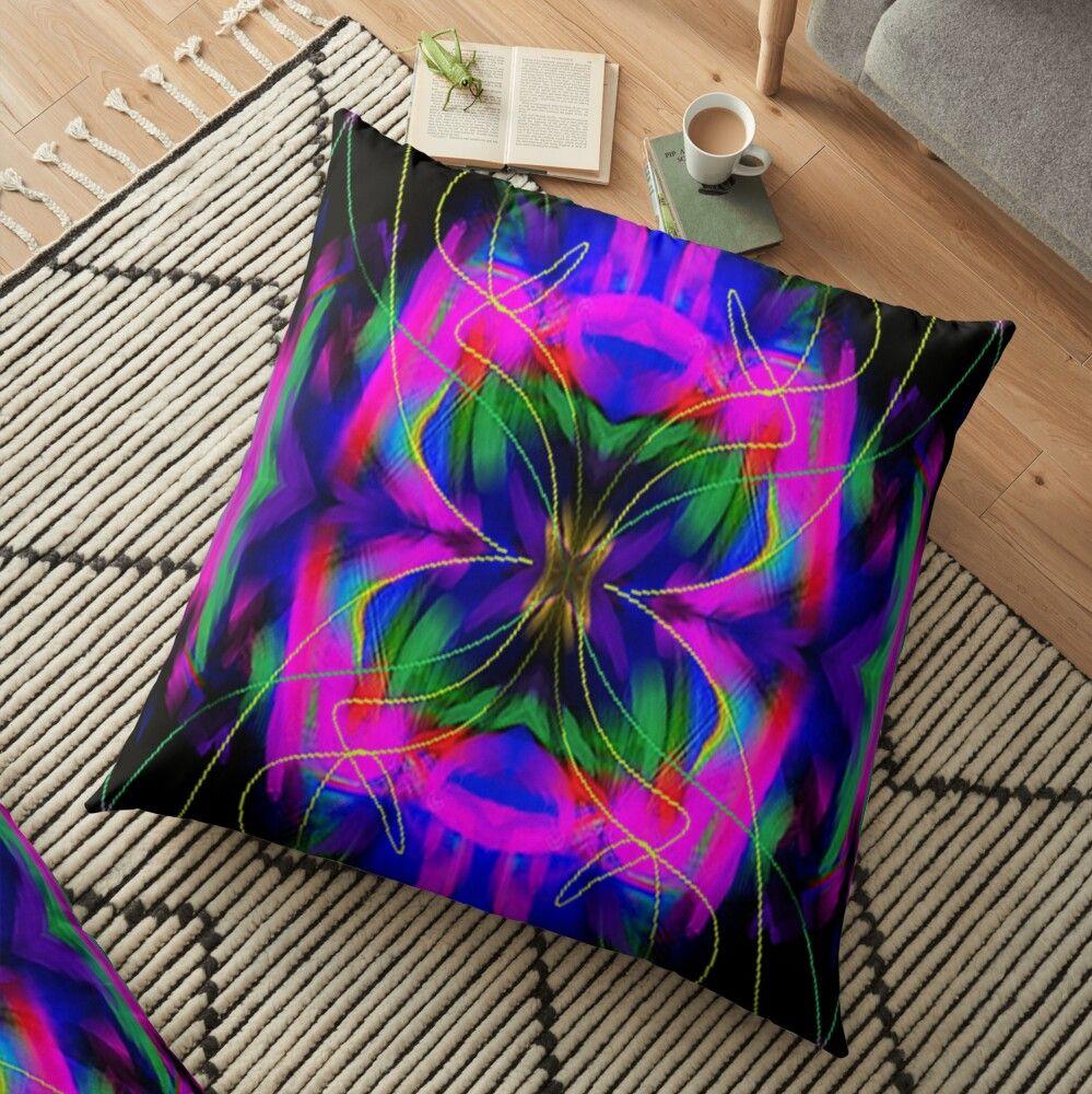 Neon Pink Digital Graphic Abstracto Floor Pillow By Adri Barnard