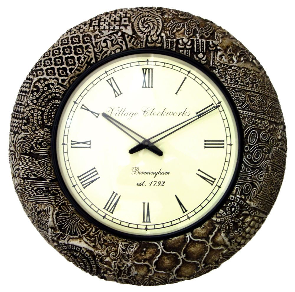 Wohnzimmeruhr Vintage Ethnic Indian Handmade Art Wall Decor Wooden Elegant Wall Clock
