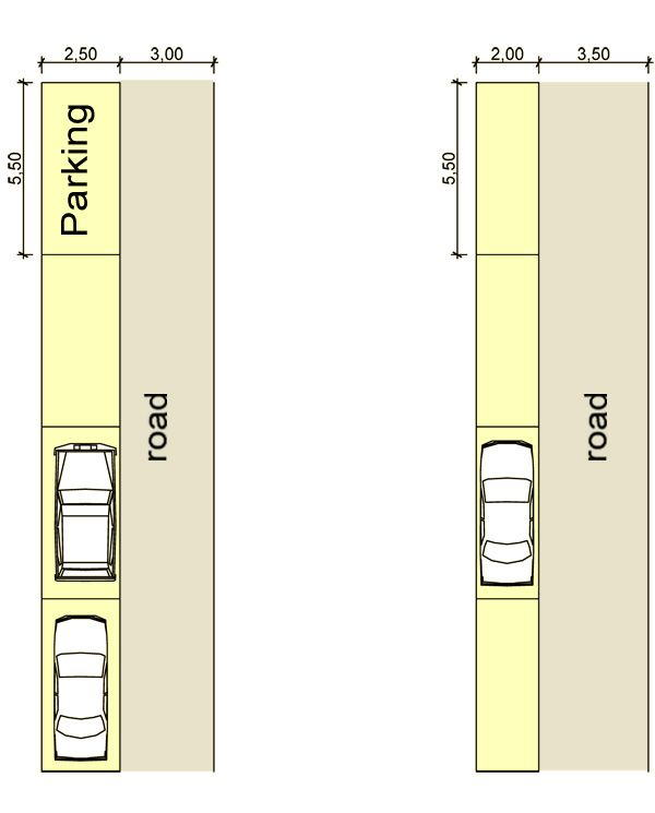 Car parking plan with dimensions the for Plan with dimensions