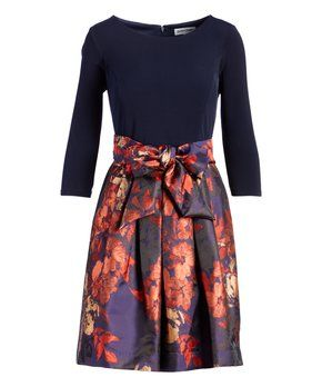 Shelby Palmer Navy Rust Floral Bow Accent Fit Flare Dress Fit Flare Dress Fit Flare Style