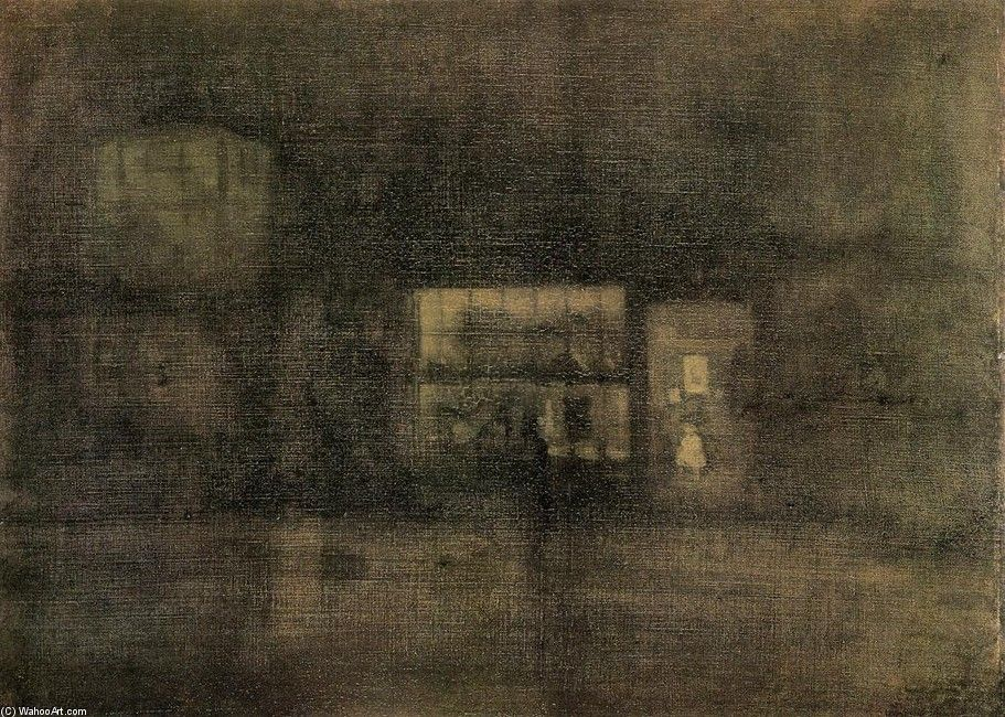 'Nocturne. Black and Gold - The Rag Negozio, Chelsea', olio di James Abbott Mcneill Whistler (1834-1903, United States)