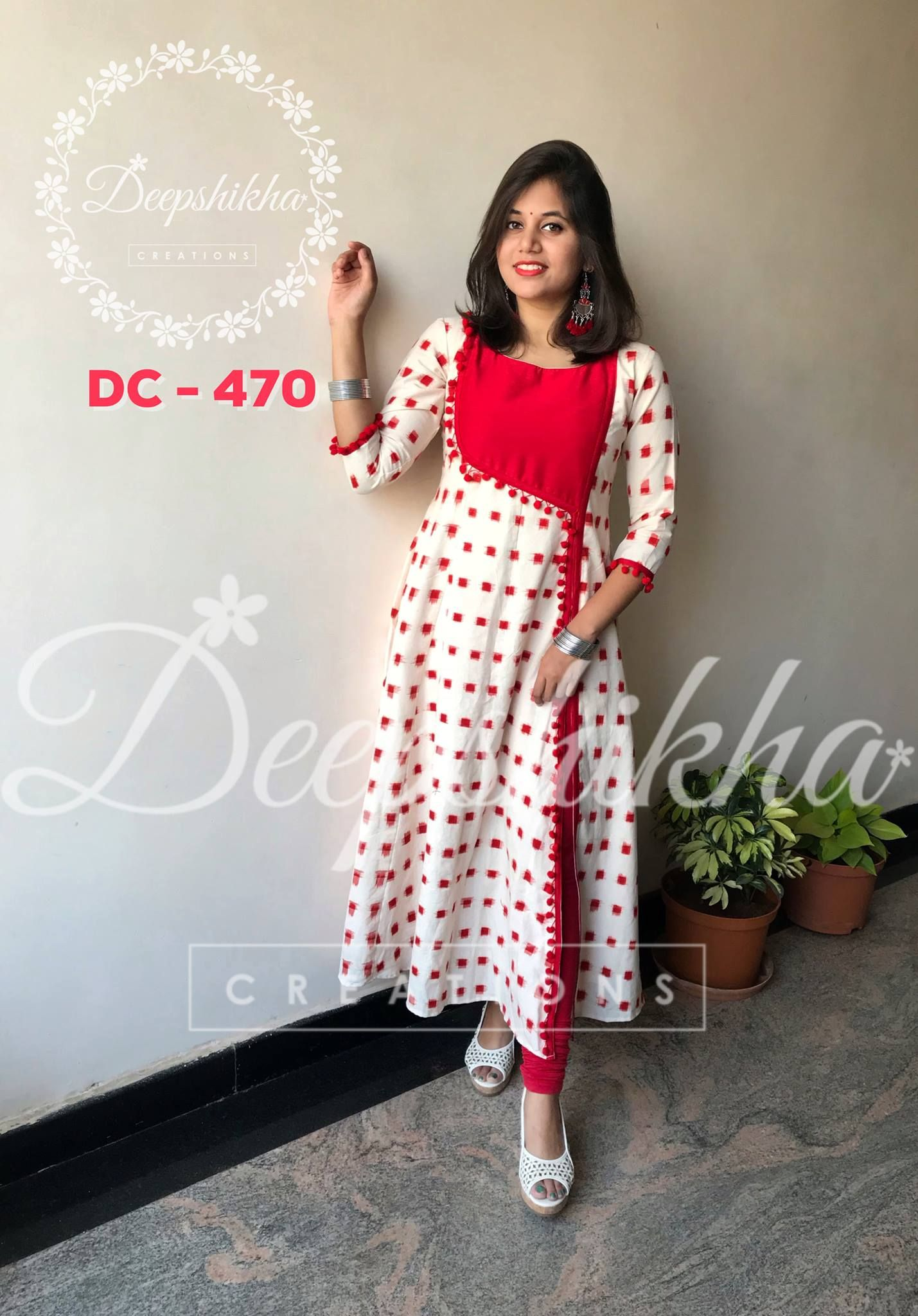 d102800bb5 Beautiful red and white color combination knee length anarkali dress. For  queries kindly WhatsApp   +91 9059683293 15 January 2018