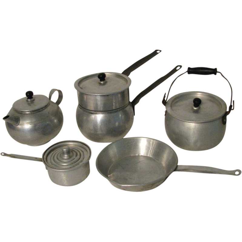 Vintage Toy Pots And Pans Set Perfect For Doll Kitchen Or Play Contains 10 Pieces Of Aluminum A Double Boiler With Lid Frying Pan Pot