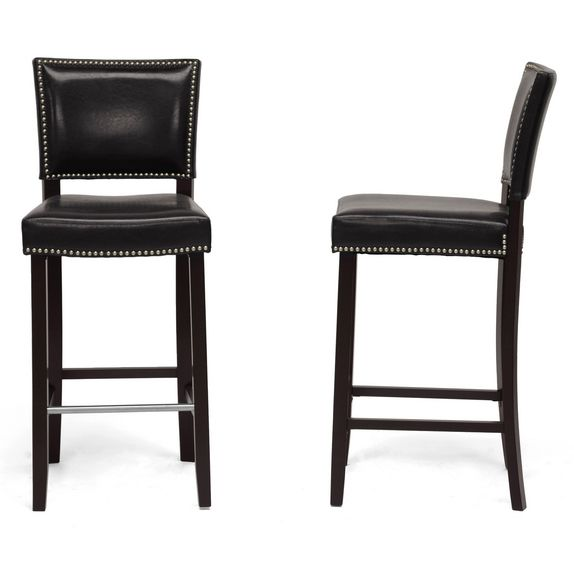 Black Modern Bar Stool with Nail Head Trim (Set of 2)