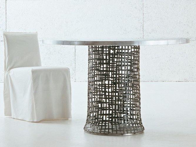 Tavolo Gervasoni ~ Tavolo rotondo in maglia di acciaio intrecciata irony si by
