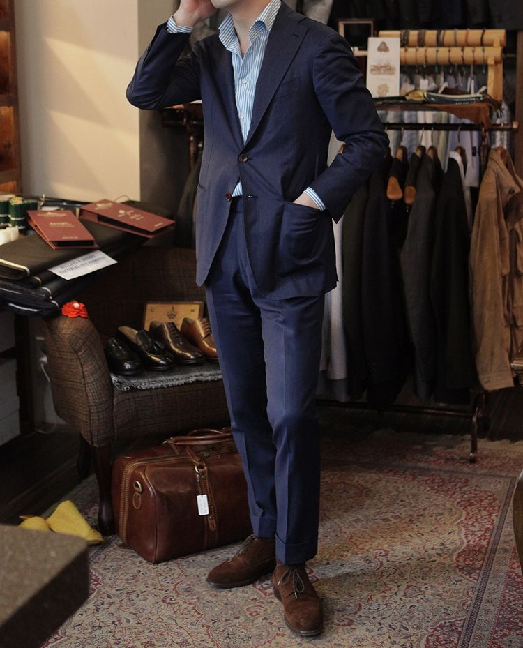 f8b567afc DRAPERS Blue Solaro Suit GRANDI & RUBINELLI Blue Shirt ZONKEY BOOT Longwing  Suede Shoes All at B&Tailorshop