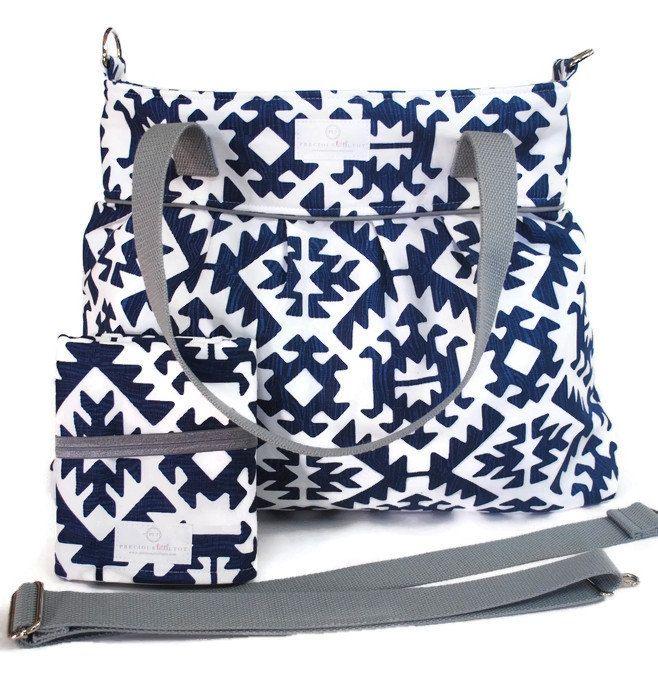 Navy Blue Aztec Diaper Bag Gift Set - Diaper Bag - Navy Blue Aztec Travel Pad - Messenger Strap