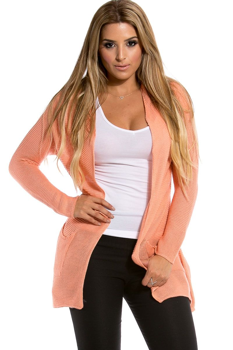 Peach Knit Open Front Bodice Long Sleeve Cardigan @ Cicihot ...
