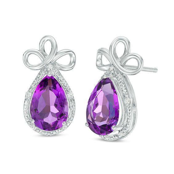 Sterling Silver Womens Pear Lab-Created Blue Sapphire Diamond Stud Earrings 1//20