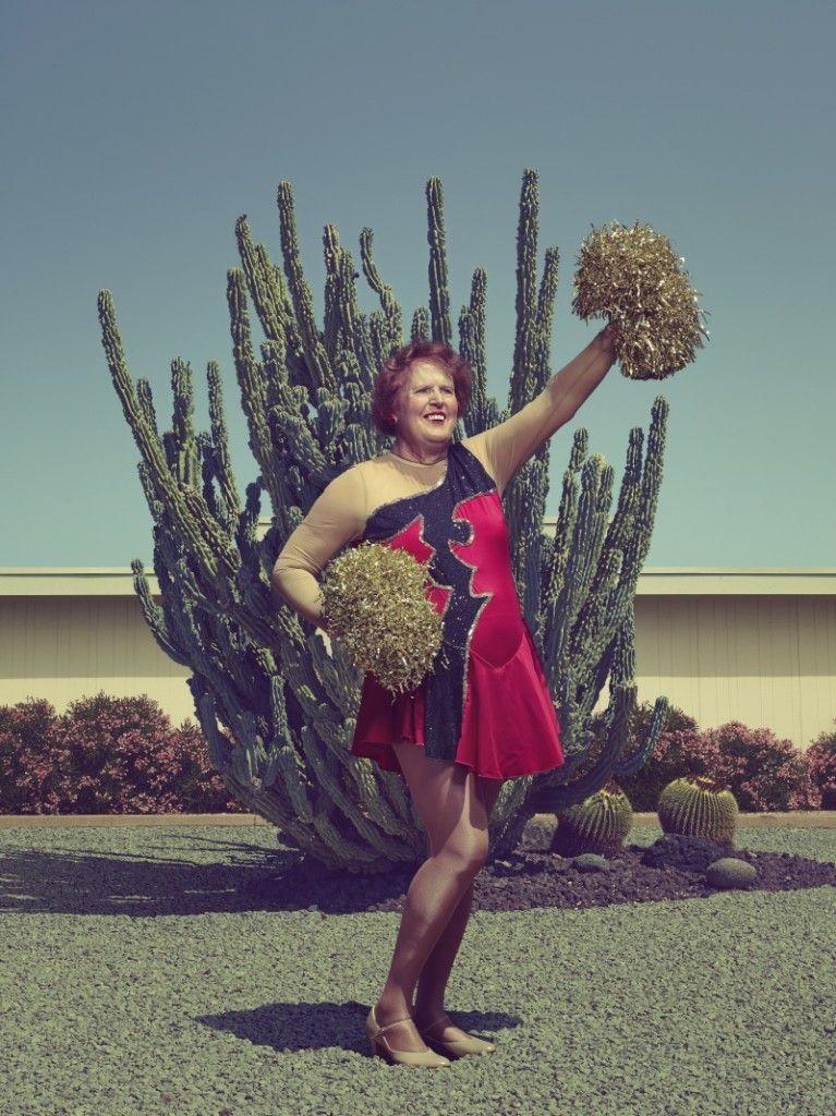 ©Todd Antony. See more images like this on @fotografiamagaz: http://fotografiamagazine.com/sun-city-poms-todd-antony/ #portrait #cheerleaders #cactus #poms #colourful #elderly #retired #photography