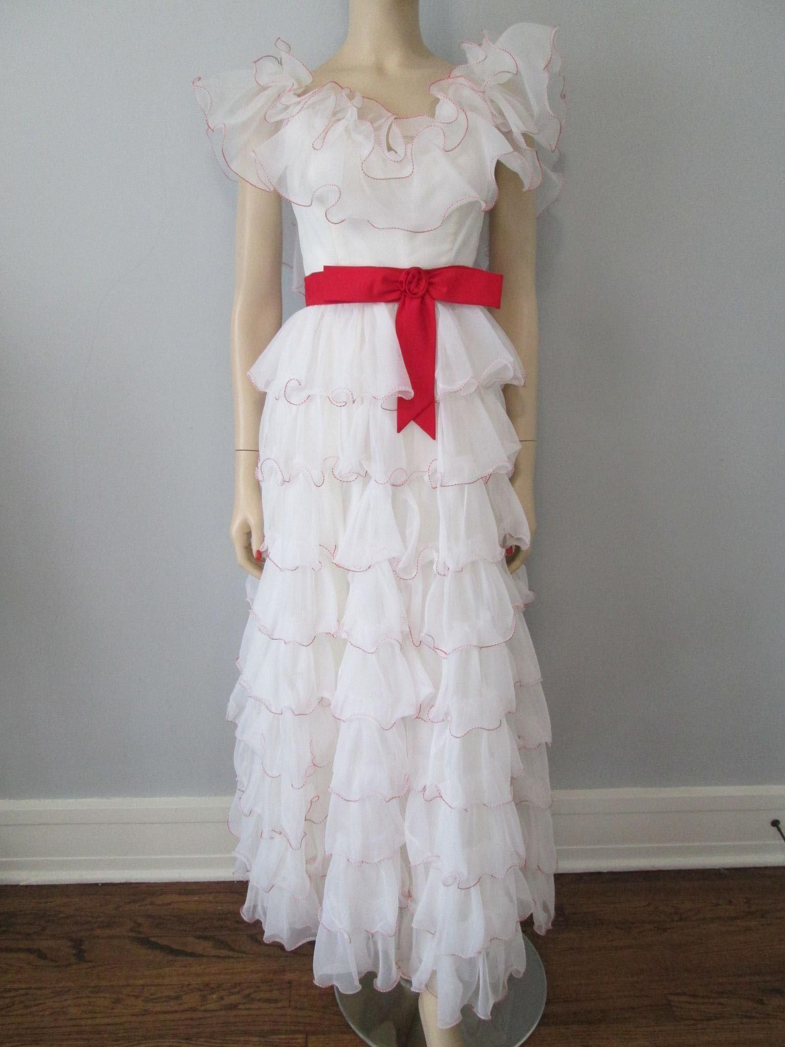 Prom dress formal gown wedding vintage s white ruffles off the