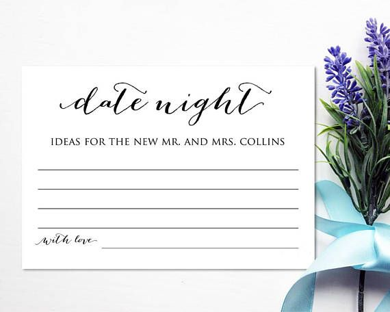 Date Night Ideas Card Template Instantly download, edit and print - bridal shower template
