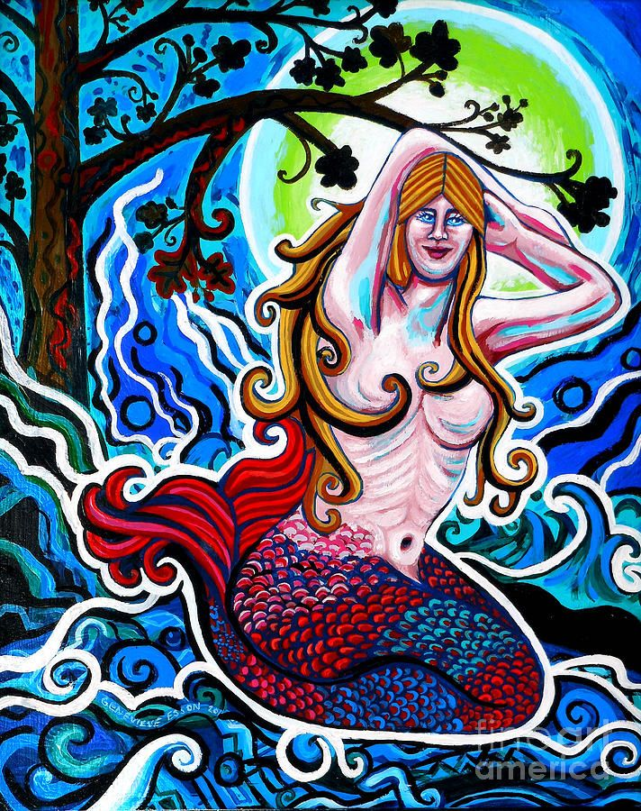 Painting - Moonlit Mermaid by Genevieve Esson #affiliate , #AFFILIATE, #Affiliate, #Moonlit, #Esson, #Genevieve, #Painting