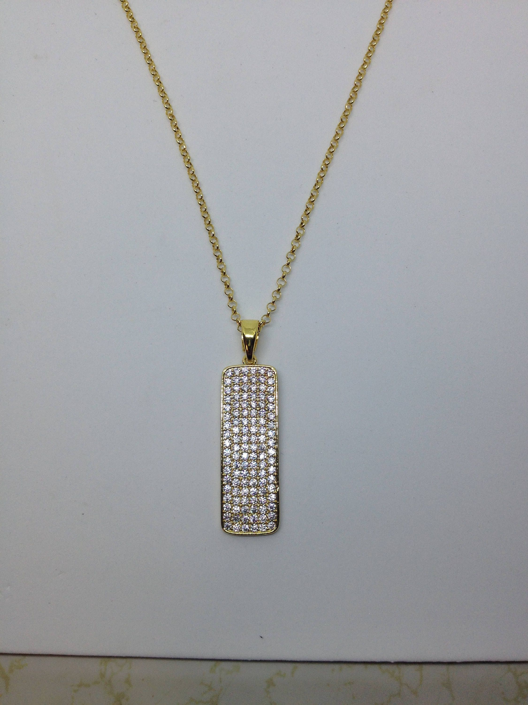 Gold pave rectangle necklace by silverjewelryshopus on etsy