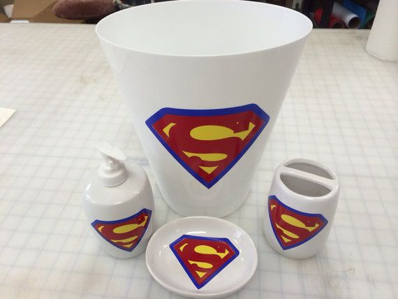 White Superman Bathroom Accessories Set