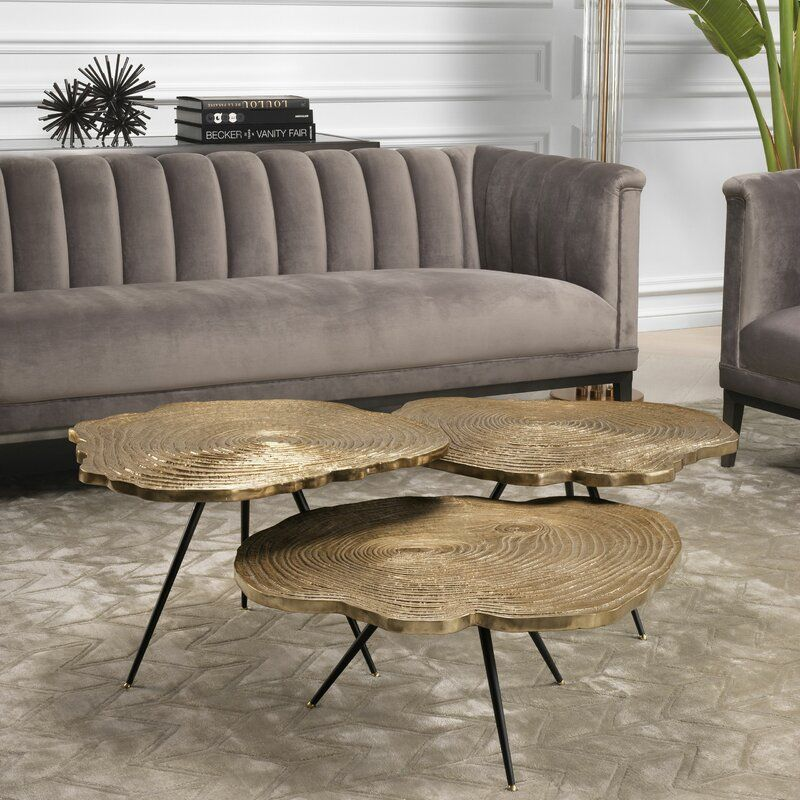Quercus 3 Legs 3 Piece Nesting Tables In 2020 Wood Slice Coffee Table 3 Piece Coffee Table Set Coffee Table