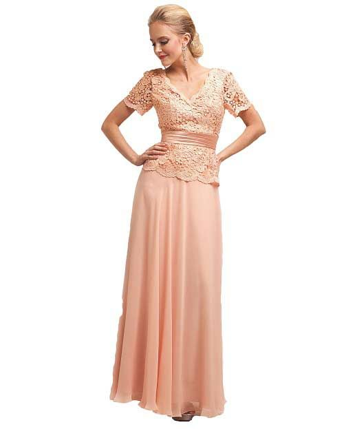 This Is A Very Pretty Designer Inspired And Affordable Peach Mother Of The Bride Dress Description From Dresses