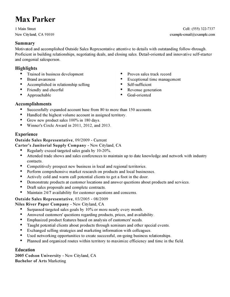 Outside Sales Representative Resume Examples Maintenance Sle