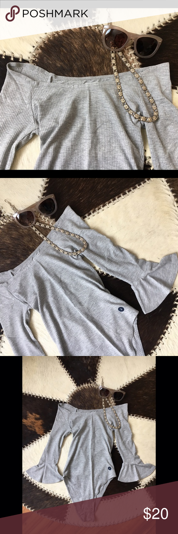 NWT Off-The-Shoulder Bodysuit - NWT Off-The-Shoulder Bodysuit   - Grey robbed bodysuit with off the shoulder neckline, and three-quarter bell sleeves. Snap closure.  - NEW WITH TAGS Abercrombie & Fitch Tops Tees - Long Sleeve