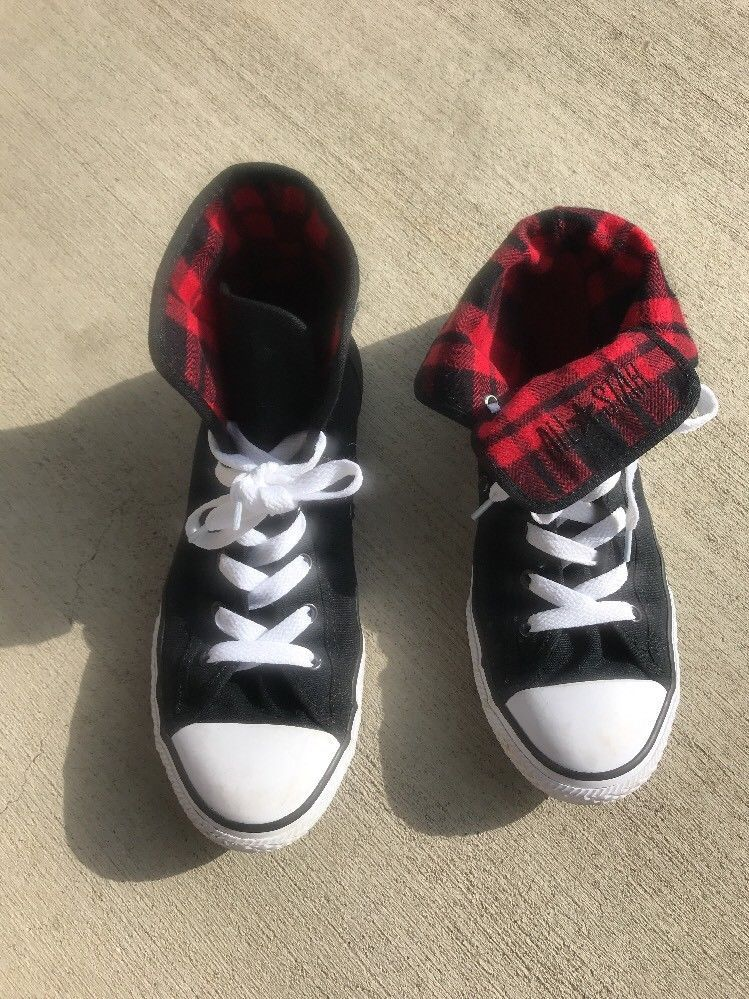 da8377309073 Converse All Star Chuck Taylor Black Red Flannel Womens 8 Junior 6 Shoes Lace  Up