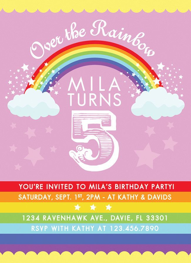 rainbow birthday party invitation somewhere over the rainbow