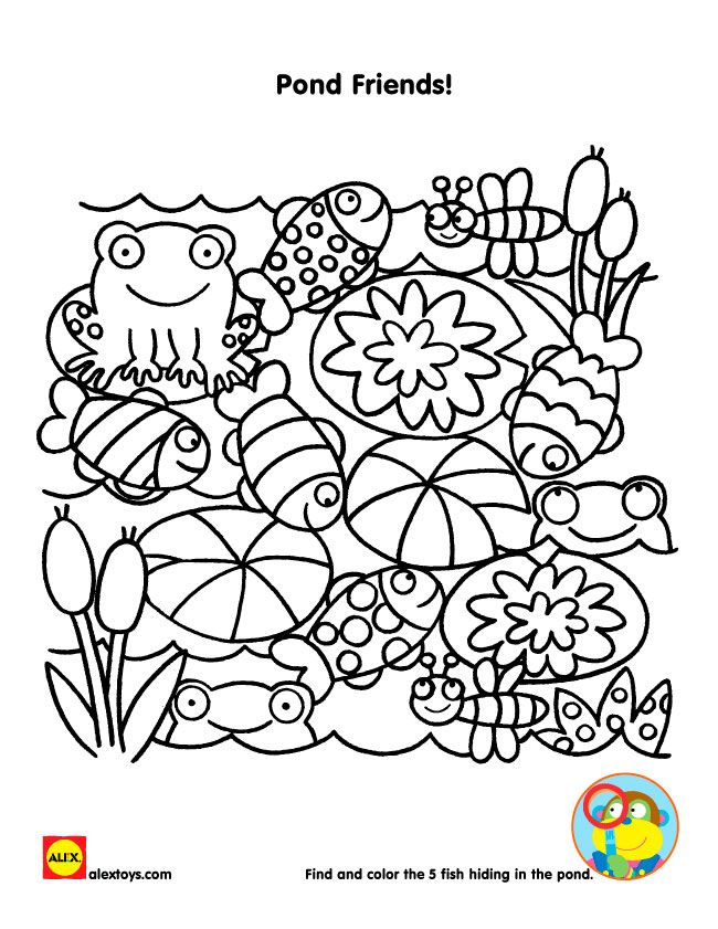 Free printable coloring sheet from alextoys pond friends alexbrands com