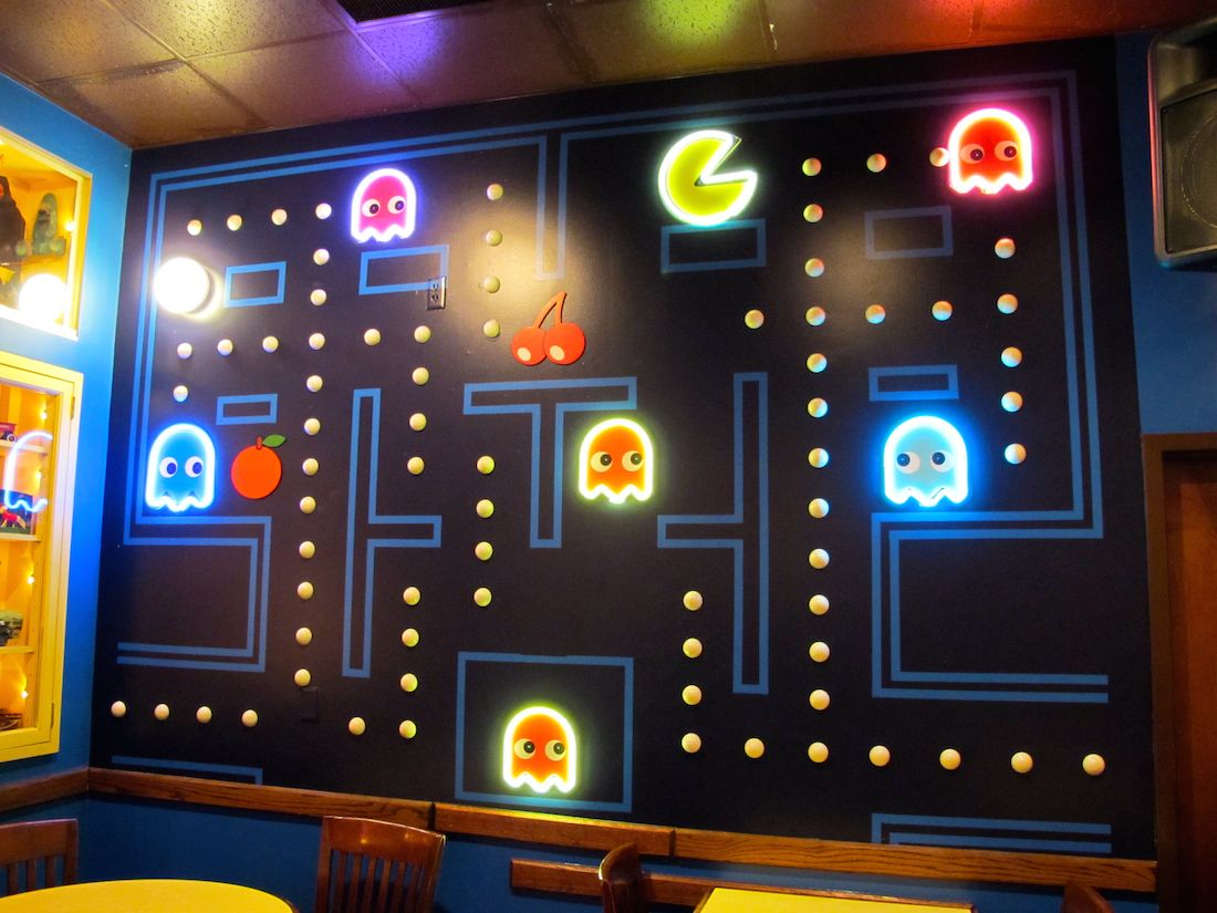 Paint isn't your only option — consider wallpaper, fabric, stone and tile. video game room ideas - Google Search   Arcade room, Video ...