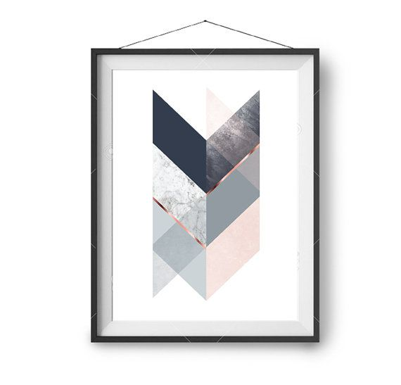 Navy Blush GEOMETRIC Marble Art PRINT Poster