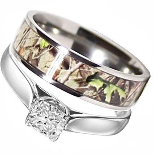 Camo Wedding Rings Set His And Hers 3 Rings Set Stainless Steel And