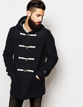 ASOS Wool Duffle Coat In Navy | Hubster | Pinterest | Duffle coat ...