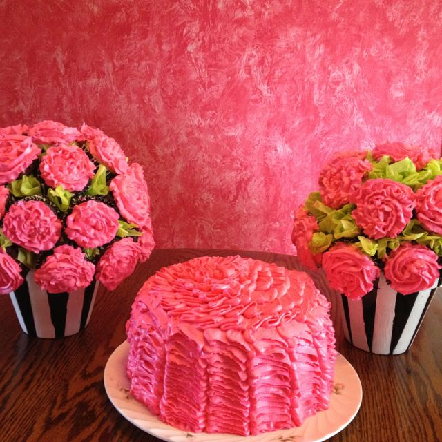 Ruffle cake and Rose cupcake bouquets! My sister and I made them for ...