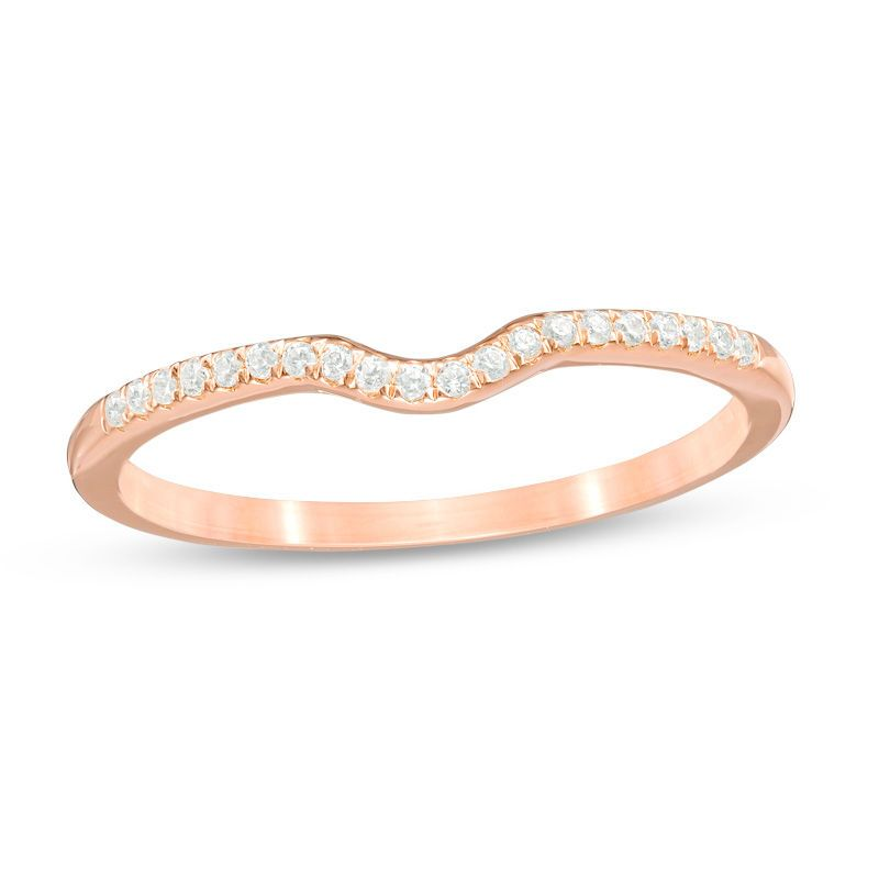 1 10 Ct T W Diamond Contour Wedding Band In 10k Rose Gold Contour Wedding Band Wedding Rings Rose Gold Diamond Wedding Bands