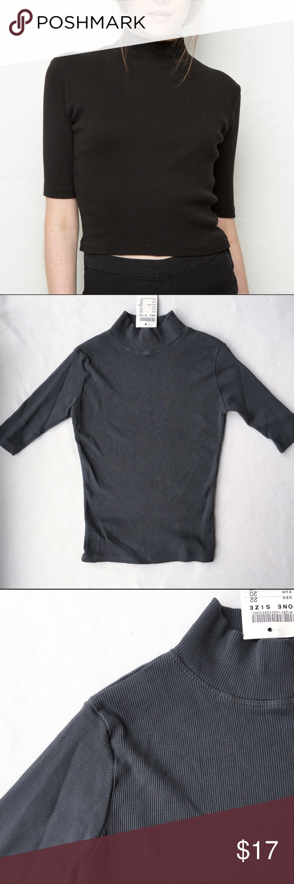 Camia Turtleneck Top Charcoal grey camia turtleneck top Nwt Brandy Melville Tops Tees - Long Sleeve