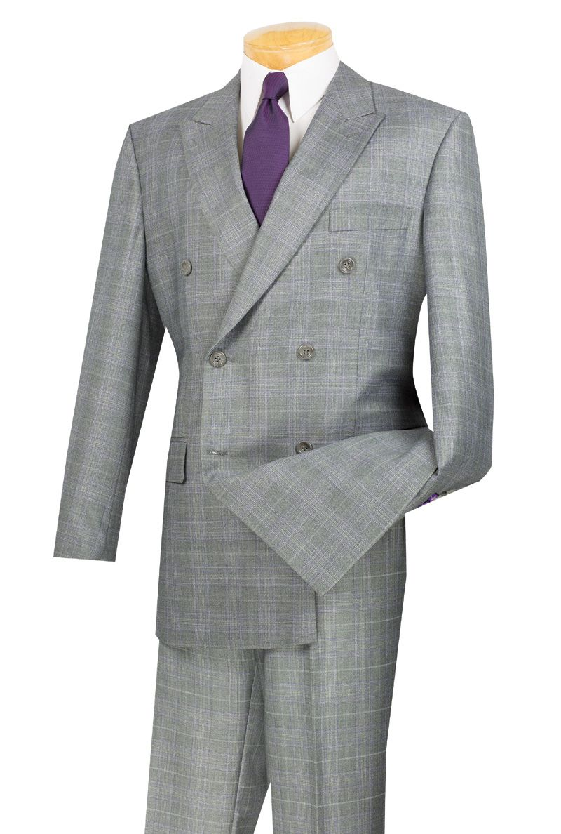 Vinci Mens Gray Plaid Double Breasted 6 Button Suit DRW-1 | Things ...