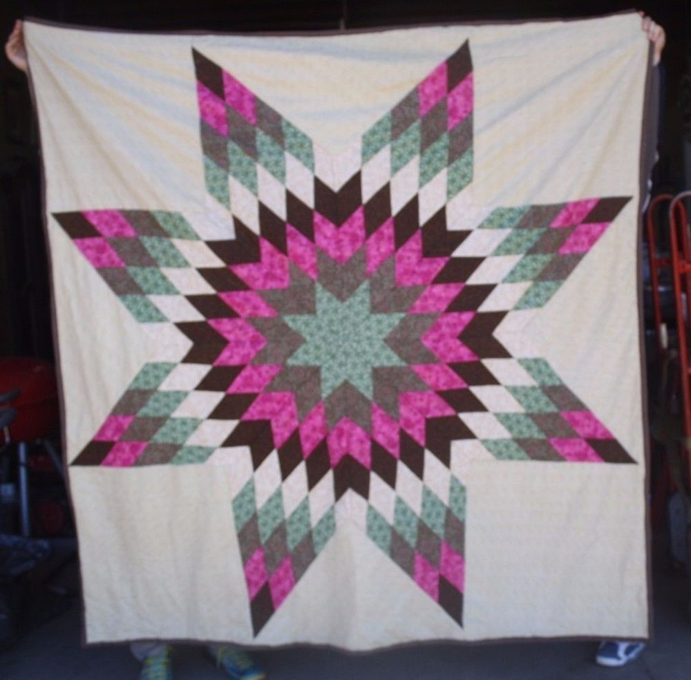 New Native American Star Quilt 72x73 Brown Pink Star Quilts