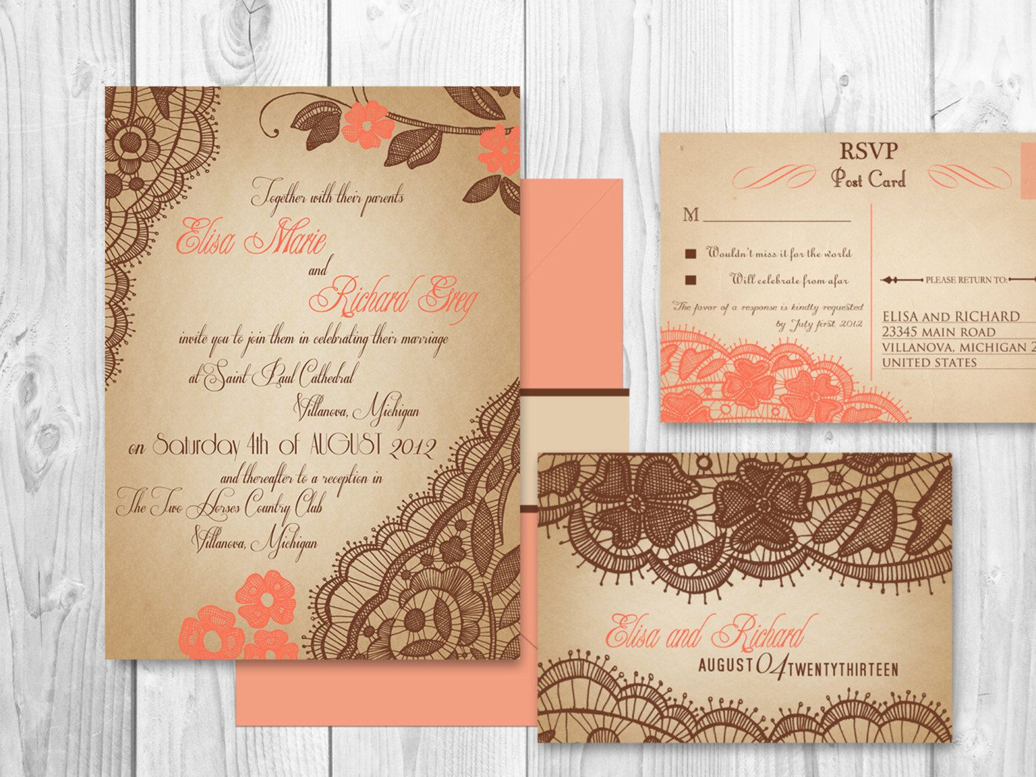 printable wedding place cards vintage%0A WEDDING INVITATIONS PRINTABLE Lace Coral by DesignedWithAmore