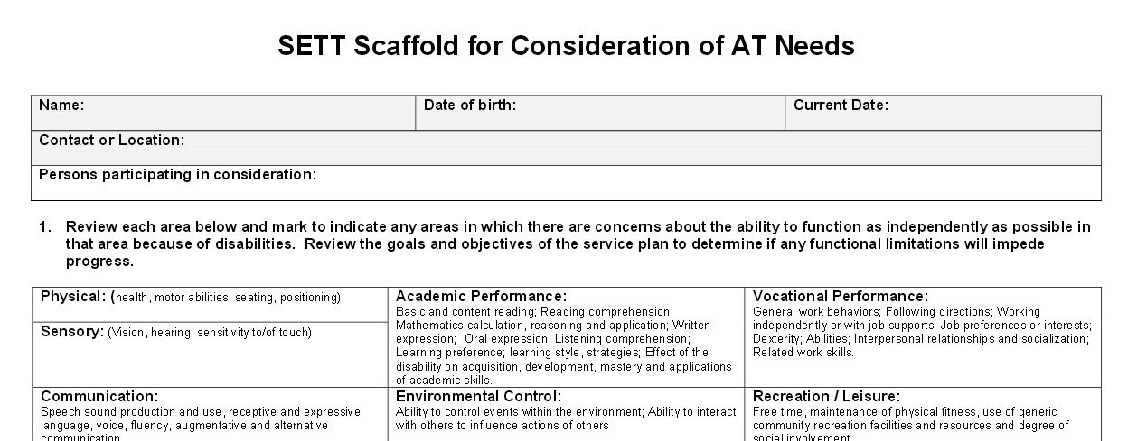This Form Is A Helpful Guide For Considering Whether A Student May Benefit From At Current Date Assistive Technology Student